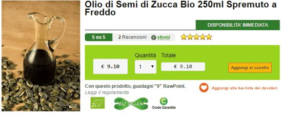 Olio di Semi di Zucca Bio 250ml Spremuto a Freddo