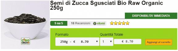 Semi di Zucca Sgusciati Bio Raw Organic 250g