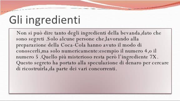 Ingredienti Coca Cola